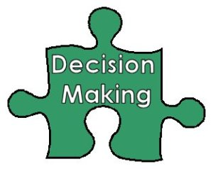 single puzzle piece with words on it that say Decision Making