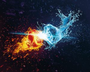 an image of two fists coming at each other, one blue representing ice and the other red representing fire to illustration the result of polarization