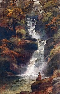 beautiful image of water cascading down a mountain side as a stream/river with an image of a man sitting silently at the bottom watching