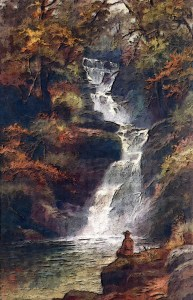 beautiful image of water cascading down a mountainside as a stream/river with an image of a man sitting silently at the bottom watching the flow with conscious awareness