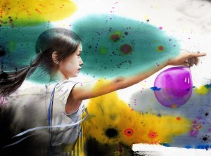 a young woman holding a pink balloon amidst a flow of different colors to represent a larger system around the balloon