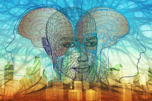 a drawing of a translucent head and behind it are two brains facing in opposite direction showing how to life life with the fullest meaning