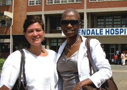 Dr. Krista Dong and Zinhle Thabethe at Edendale Hospital.
