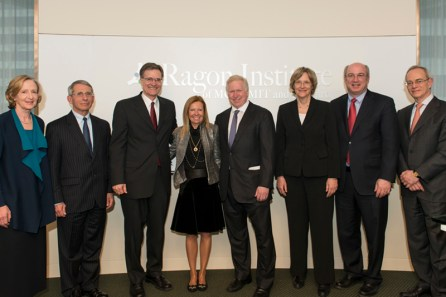 Susan Hockfield, Anthony Fauci, Bruce Walker, Terry and Susan Ragon, Drew Faust, Peter Slavin and Rafael Reif