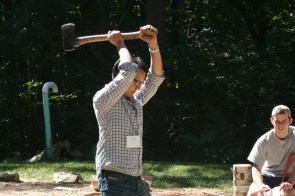 Dr. Daniel Kwon chopping wood