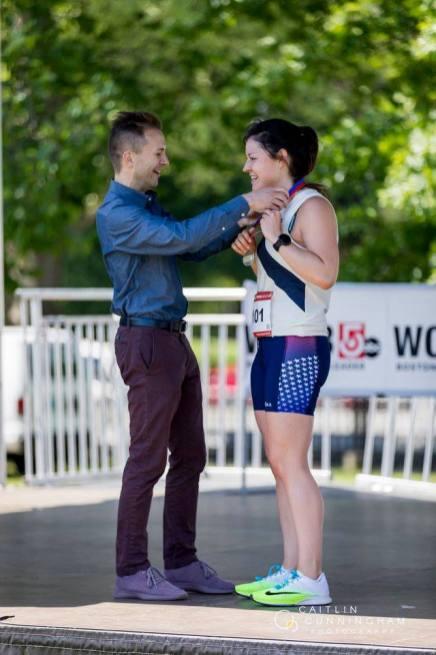 Alex Millström receiving her medal