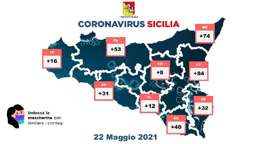 La mappa dei contagi Covid in Sicilia il 22 maggio