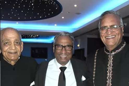 Veteran radio presenters and poets Chaman Lal Chaman, Sathi Ludhiyanvi & Rahi Bains at an award ceremony, Cranford