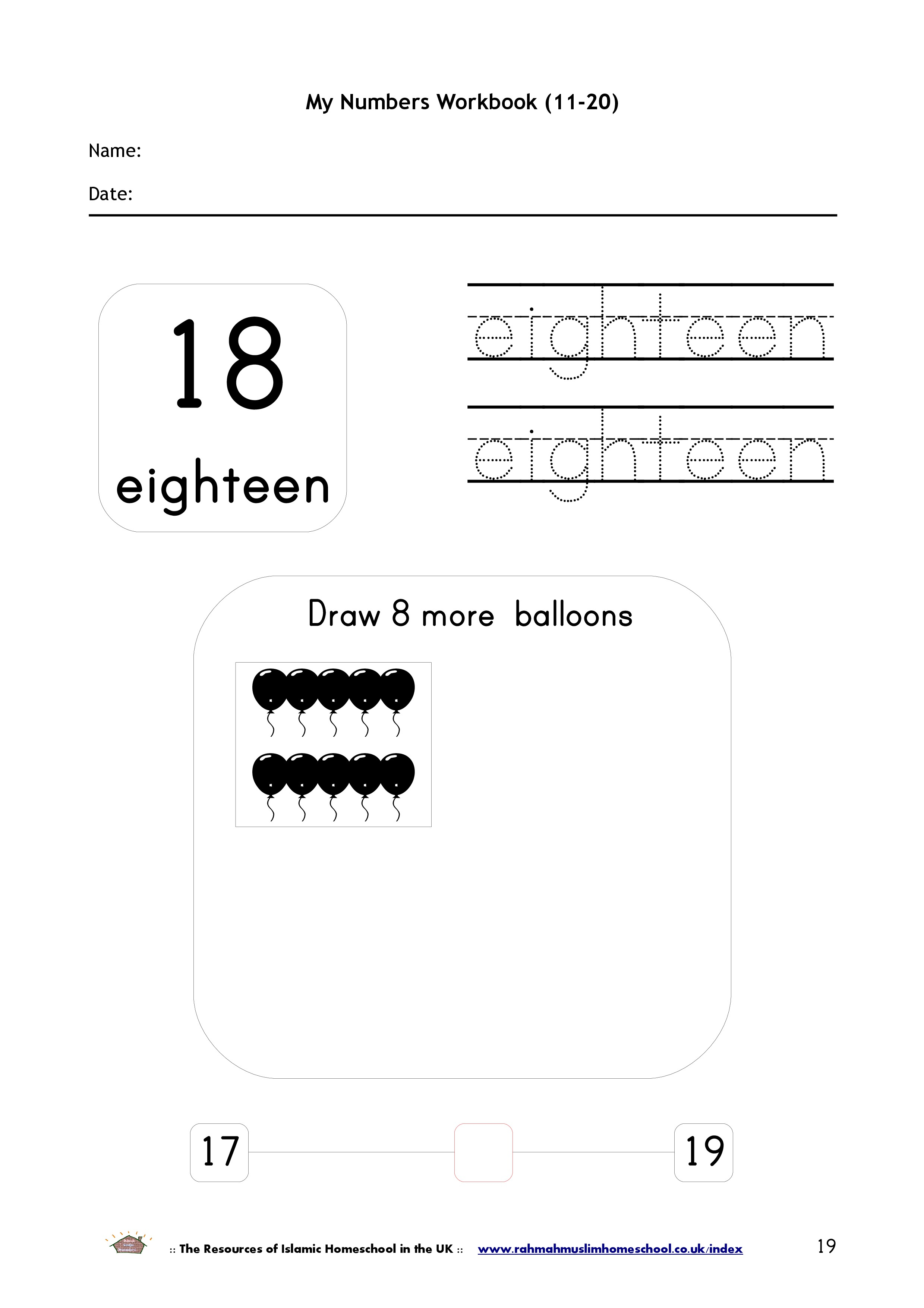 Maths My Numbers Workbook 11 20