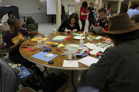 Making DIY seed envelopes at the New Brunswick Seed Swap March 24, 2014