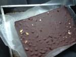 Hardened sheet of chocolate bark.