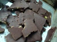 Chocolate bark with almonds, pistachios and sea salt.