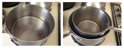 Double boiler alternative-place a small amount of water in a saucepan to boil and a nest smaller saucepan inside for melting chocolate.