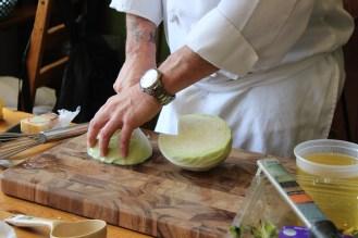 Preparing cilantro-lime coleslaw