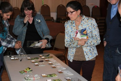 Adding ying-yang beans to the Raíces EcoCulture Seed Library, courtesy of a new member who signed up at the Spring Renewal event following the seed saving talk.