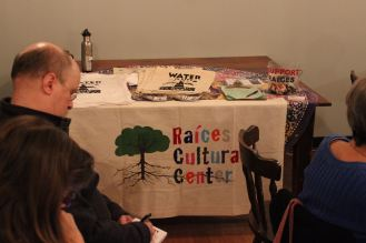 The Raíces Fundraising Table, manned by our friend and Raíces volunteer Paul Sauers