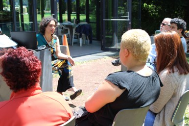 Talking with workshop participants.