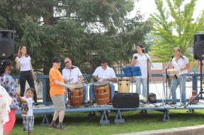 Playing, singing and dancing bomba.