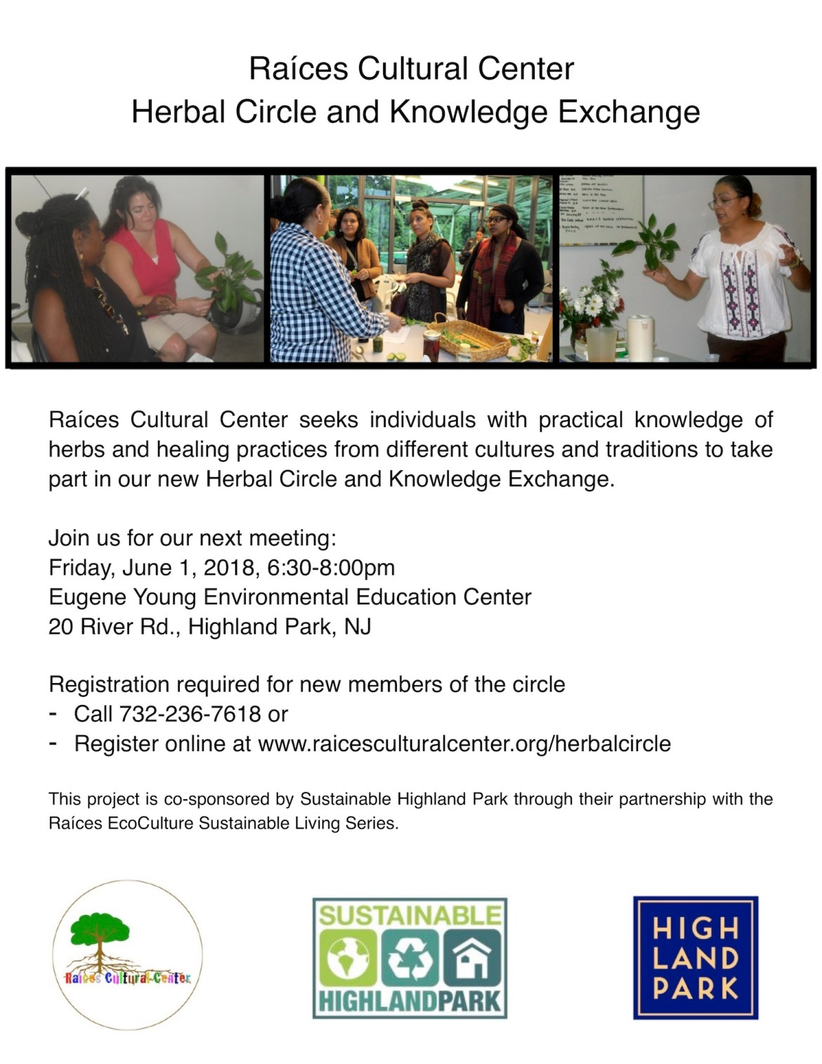 Flyer for Herbal Circle and Knowledge Exchange meeting, Friday, June 1 at 6:30pm at 20 River Road in Highland Park, New Jersey