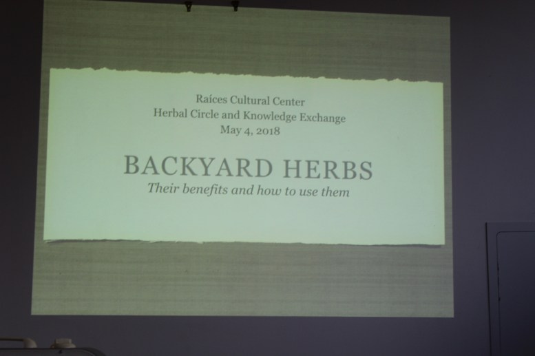 Nicole Wines presented on common backyard herbs, their benefits and how to use them.