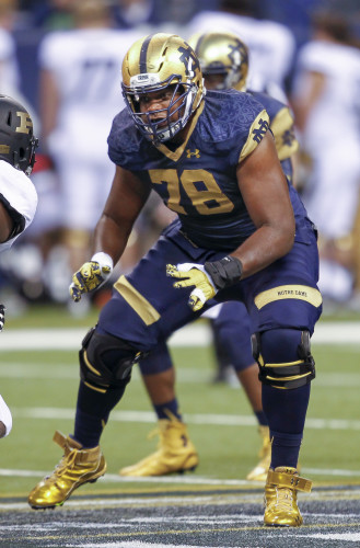 INDIANAPOLIS, IN - SEPTEMBER 13: Ronnie Stanley #78 of the Notre Dame Fighting Irish moves to block during the game against the Purdue Boilermakers at Lucas Oil Stadium on September 13, 2014 in Indianapolis, Indiana. (Photo by Michael Hickey/Getty Images)