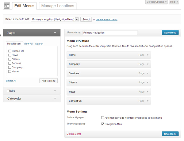 Wordpress 3.6 Menu Editor
