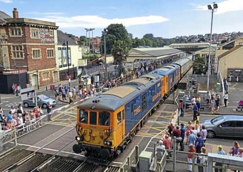 The rare sight of electro-diesels working a passenger train in Devon – GBRf's Nos. 73962 and 73963 depart Paignton on July 16 with the return leg of UK Railtours' 'Herd Of Wildebeeste' charter to Waterloo. Photo taken on an iPhone 6. Robert Sherwood