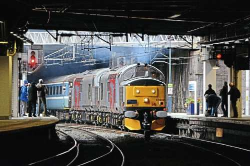 'Growling' into Birmingham New Street on October 23, Europhoenix Type 3s Nos. 37800+37884 head the outward leg of the Rail Operations Group's 'Thrash Bash' tour from Derby to Worcester Shrub Hill via South Wales. Stewart Higham