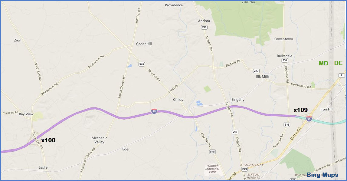 Map I 95 Exits Maryland