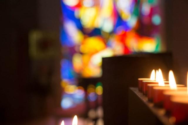 Prayer candles in church
