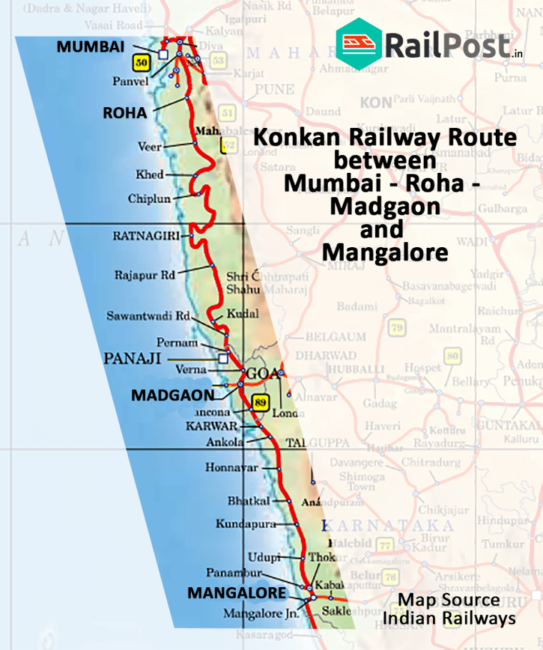 Konkan Railway Route Map Of chargeable & actual distances; chainages on Indian Railways