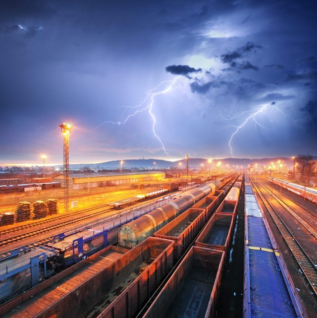 Train freight transportation during a storm