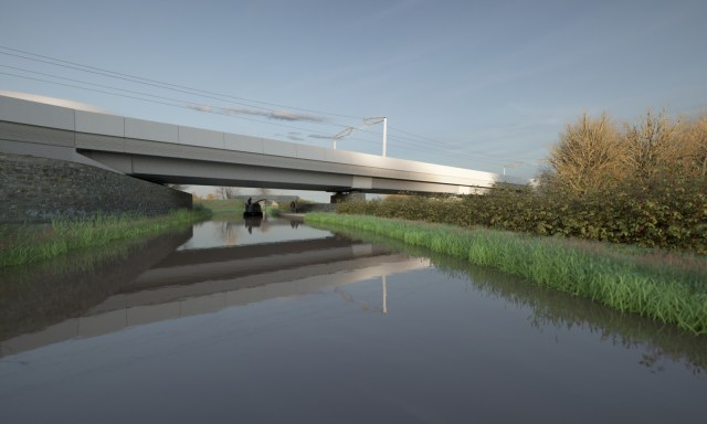 A CGI artist's impression of the HS2 Oxford Canal Viaduct