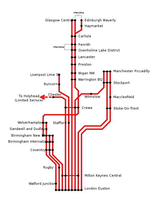 Virgin Trains schematic route map