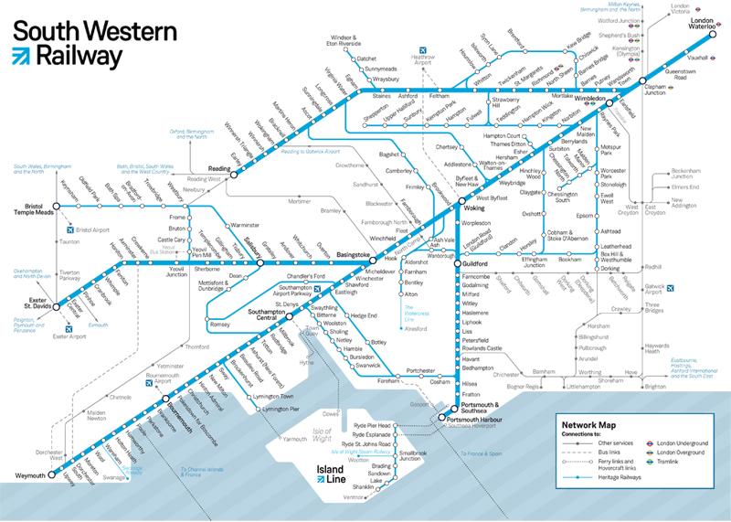 Southwestern Railway Network Map