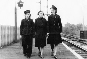 Gladys Garlick and LNER colleagues Rita and Irene at Bowes Park
