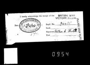 Receipt for Arthur's war service medal.