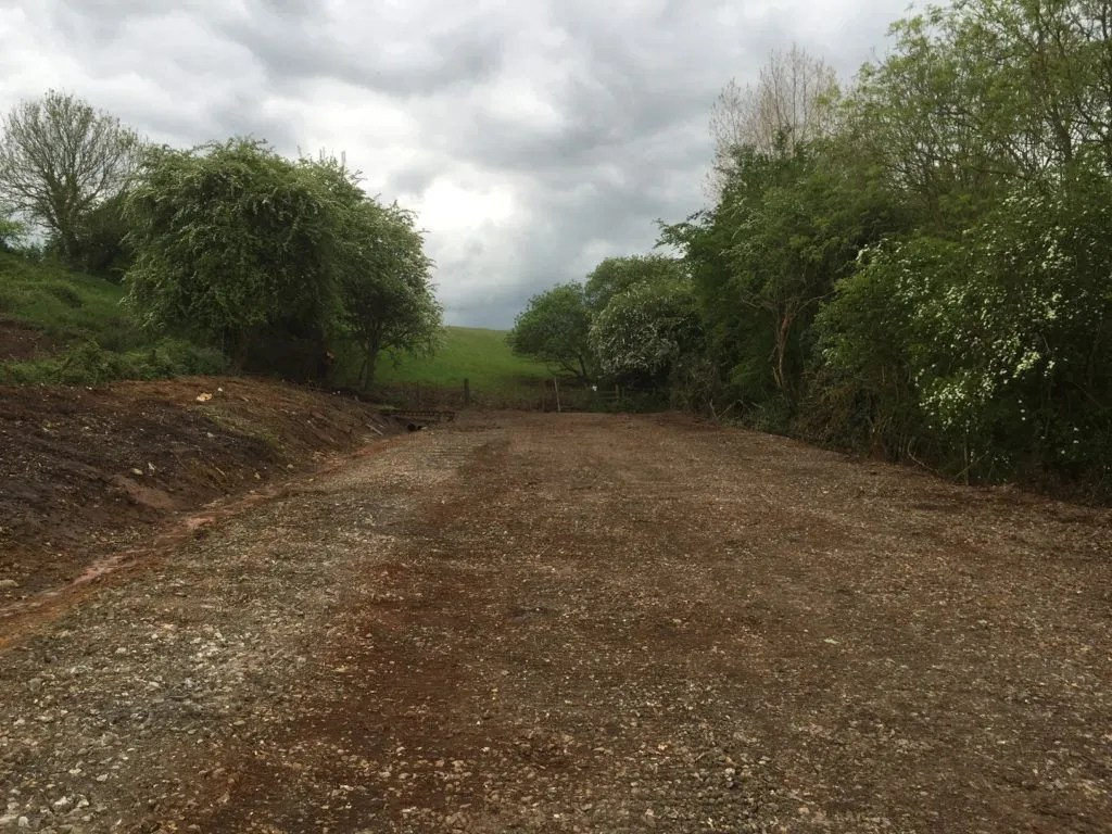 Track bed of the Somerset & Dorset just south of Midsomer Norton - railway closures have led to the removal of track