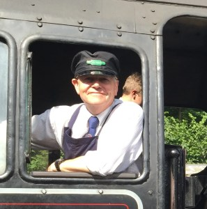 Meet the railway blogger this is a picture of Barrie in cab of steam loco 80043