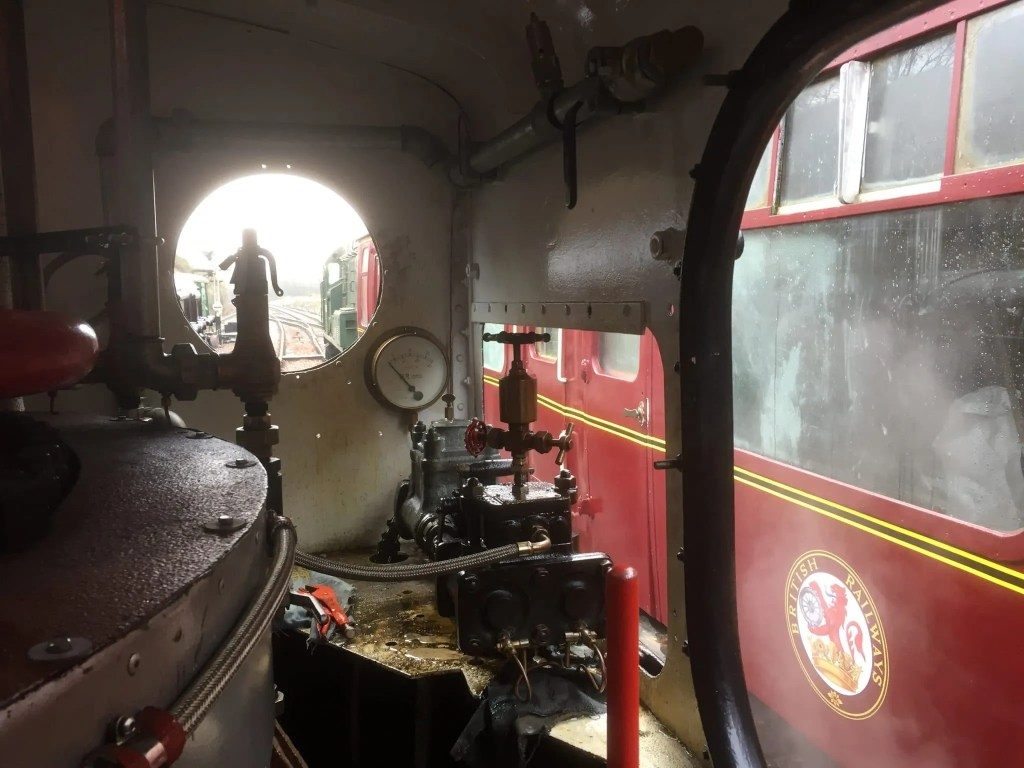 View from the cab of Sentinel 7109 in Midsomer Norton station. Heritage Railway success.