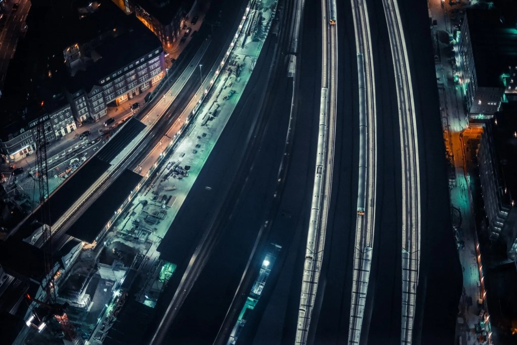 Ariel view of a railway station showing flexible rolling stock