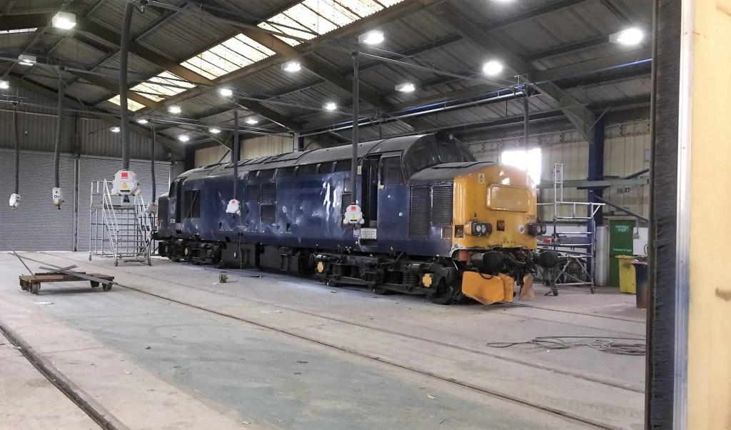 Class 37 number 37611 (built as D6871 by Vulcan Foundry in 1963. ) in Eastleigh Works 24 March 2017