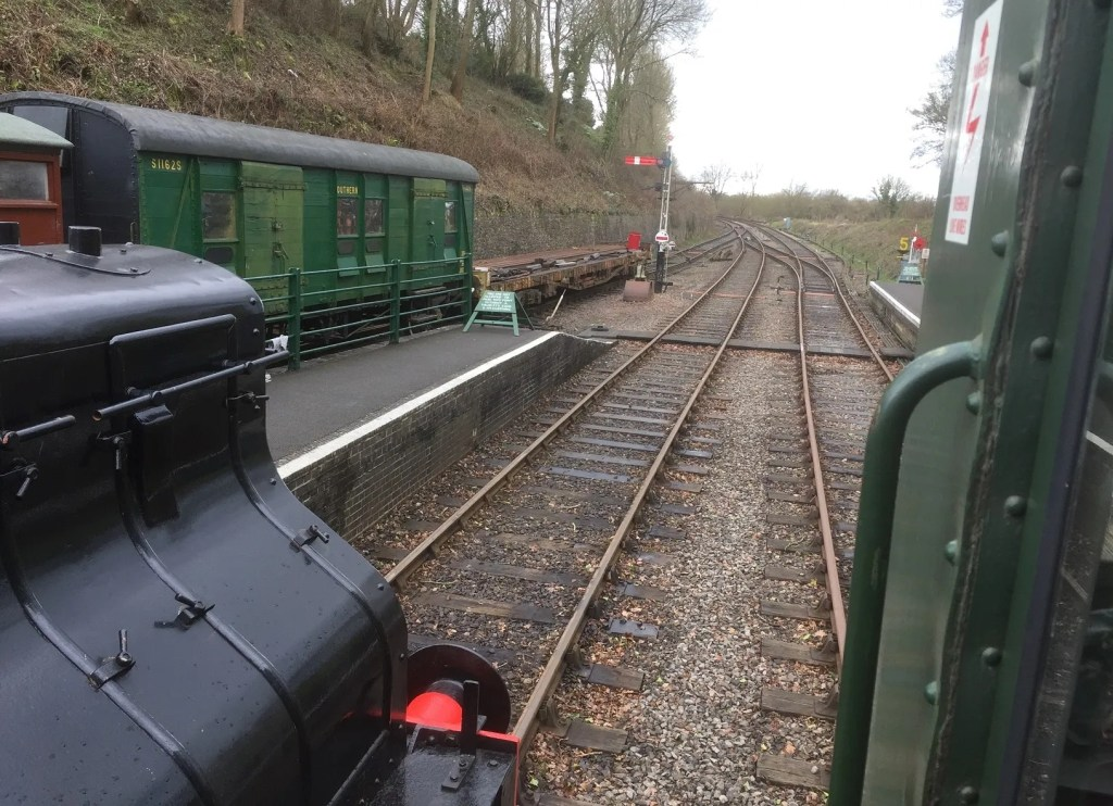 Ready for the off at the Somerset and Dorset Railway Midsomer Norton