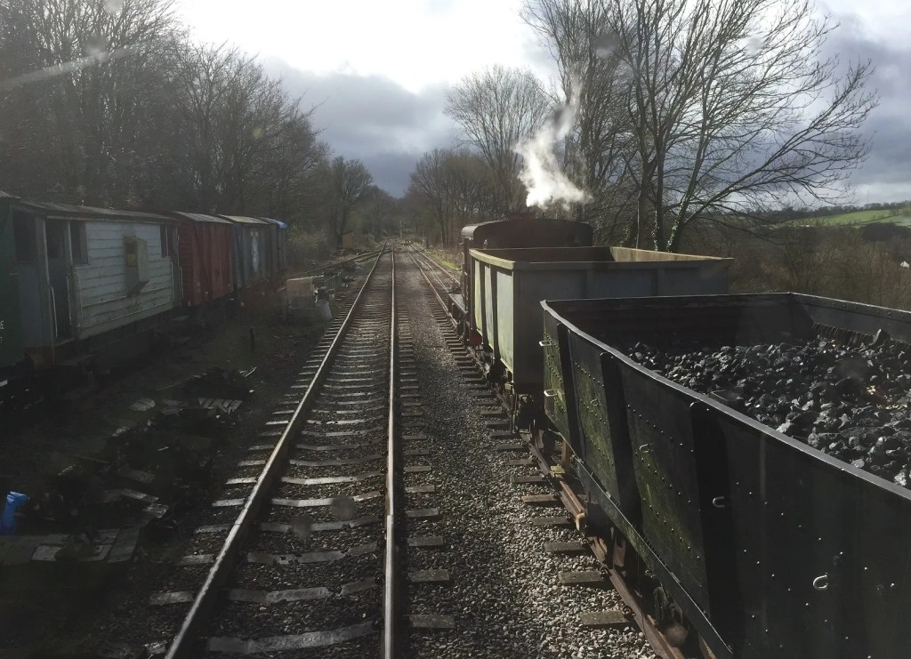 Sentinel passes Engineers Siding on Somerset and Dorset Railway