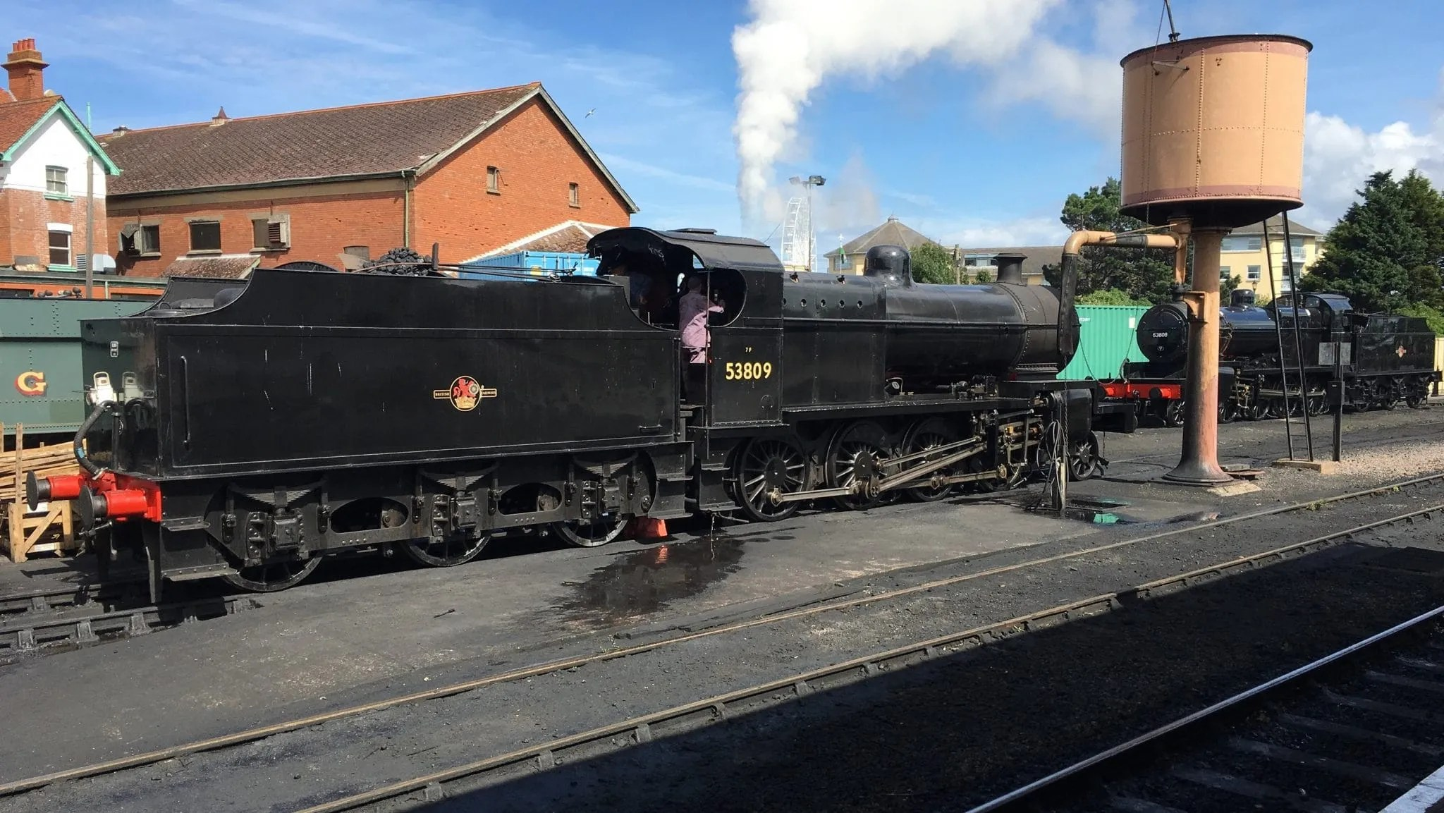 steam locomotives 53809 and 53808 at Minehead station on West Somerset Railway
