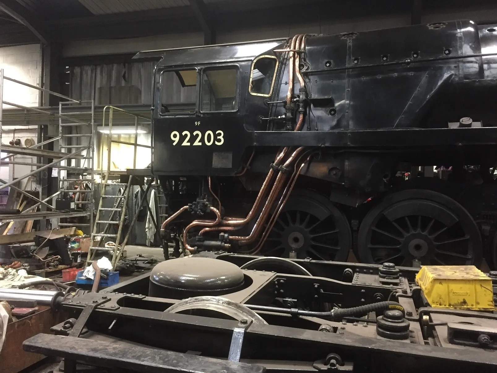 9F 92203 Black Prince in the workshops at the North Norfolk Railway