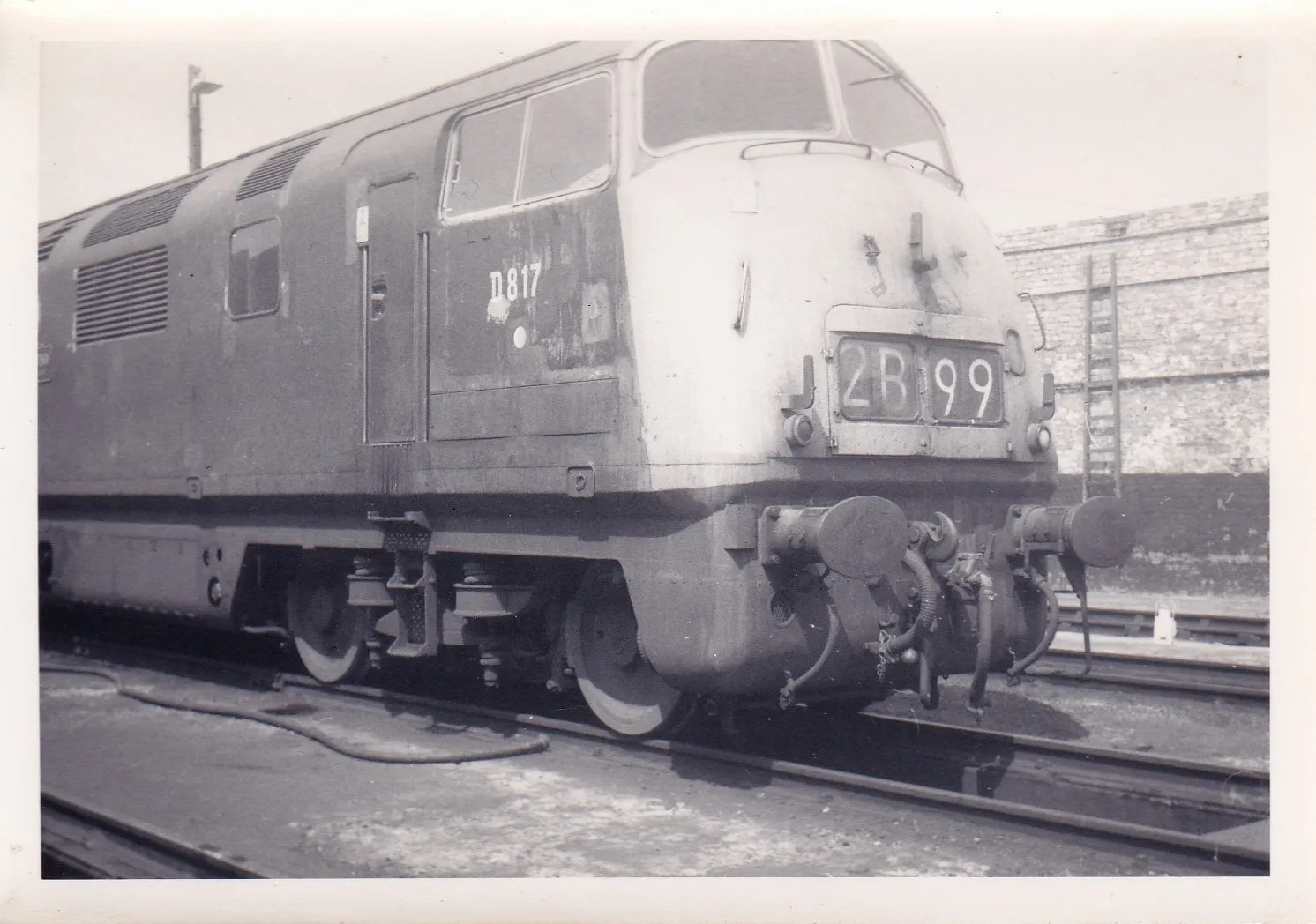 Class 42 817 Foxhound at Exeter St Davids railway depot June 1971