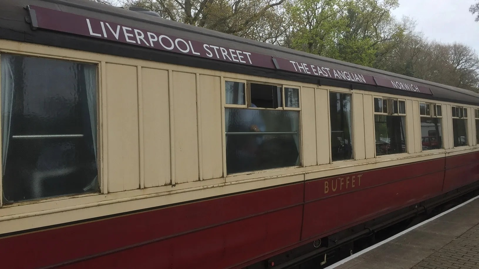 Gresley coach E9128E with The East Anglian carriage boards at the North Norfolk Railway