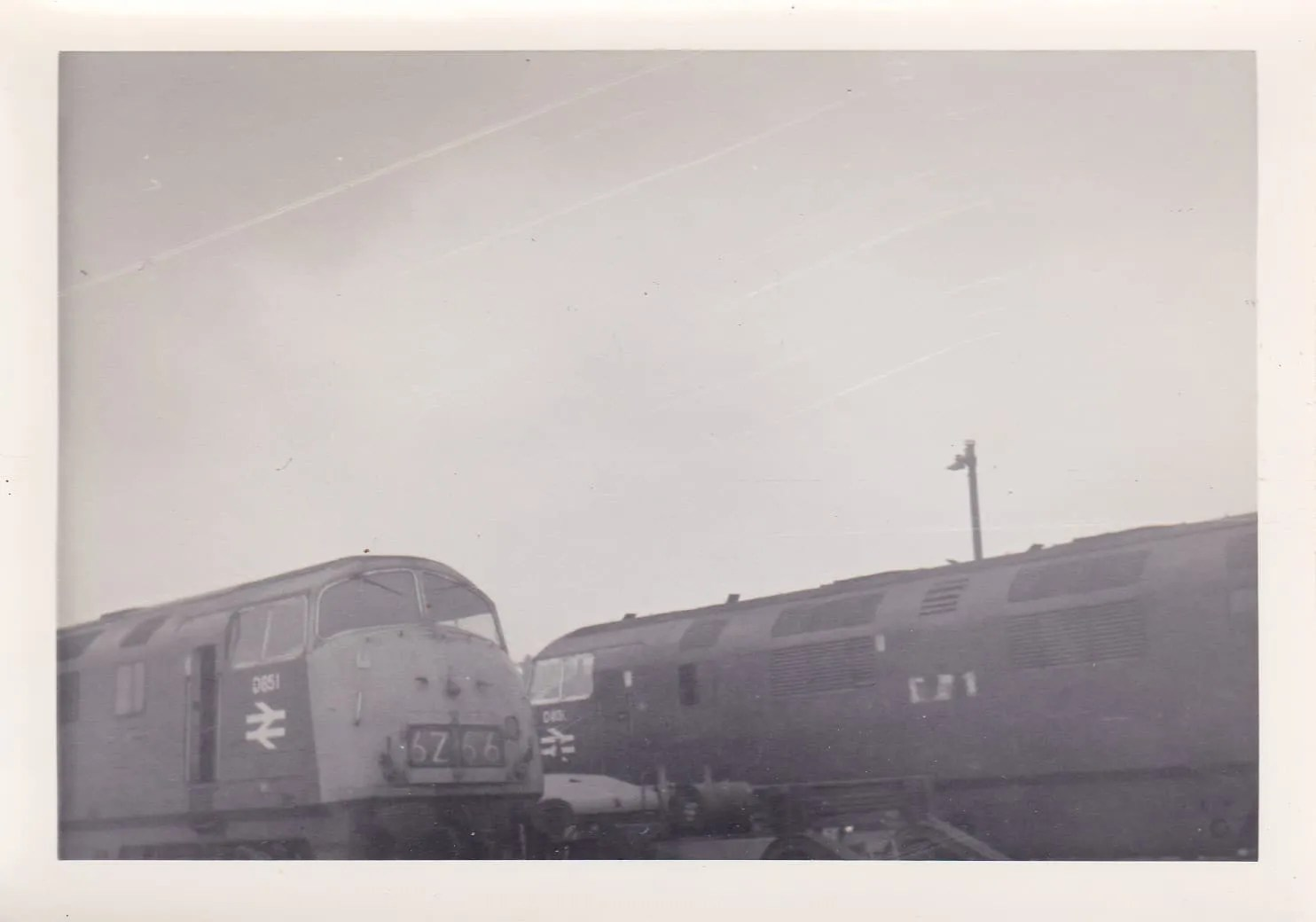 Warship Class 43s 851 Temeraire and 836 Powerful at Newton Abbot railway station in 1970s