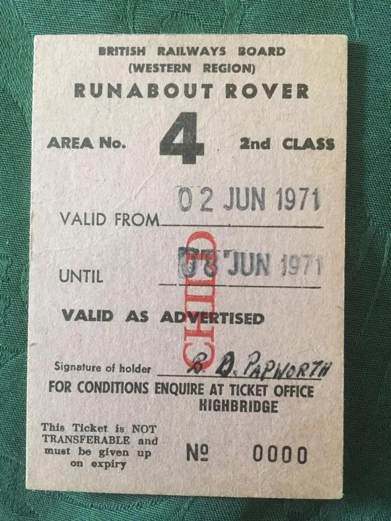 British Railways Trains 1970s runabout rover ticket